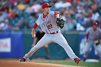 Syracuse Chiefs starting pitcher Erick Fedde (22) delivers a pitch during a game against the Buffalo Bisons on July 3, 2017 at Coca-Cola Field in Buffalo, New York.  Buffalo defeated Syracuse 6-2.  (Mike Janes/Four Seam Images)