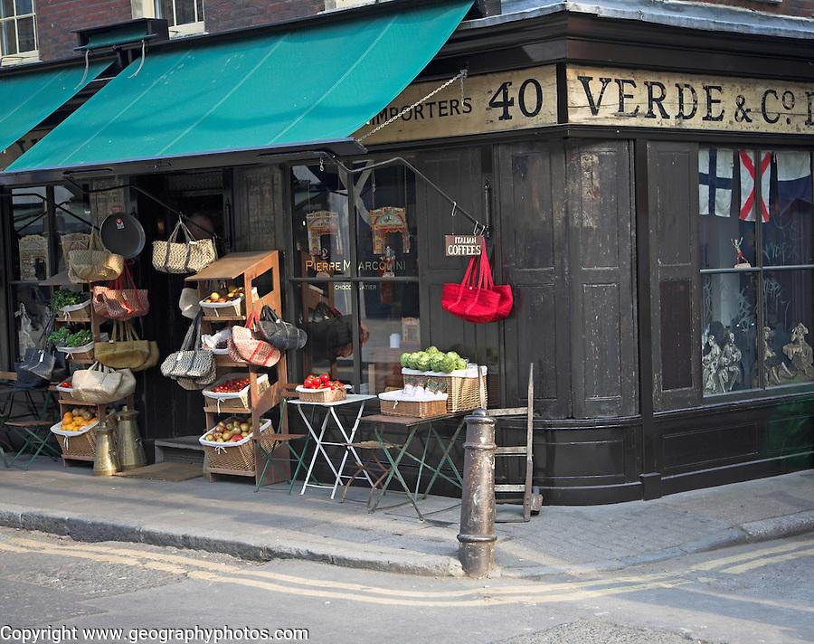Verde and Co, Brushfield Street, Spitalfields, London owned by writer Jeanette Winterson.