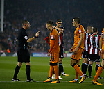 Red card for Conor Coady of Wolverhampton Wanderers during the Championship match at the Bramall Lane Stadium, Sheffield. Picture date 27th September 2017. Picture credit should read: Simon Bellis/Sportimage