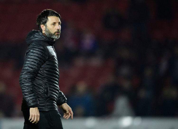 Lincoln City manager Danny Cowley during the pre-match warm-up<br /> <br /> Photographer Chris Vaughan/CameraSport<br /> <br /> The EFL Sky Bet League Two - Lincoln City v Exeter City - Tuesday 26th February 2019 - Sincil Bank - Lincoln<br /> <br /> World Copyright © 2019 CameraSport. All rights reserved. 43 Linden Ave. Countesthorpe. Leicester. England. LE8 5PG - Tel: +44 (0) 116 277 4147 - admin@camerasport.com - www.camerasport.com