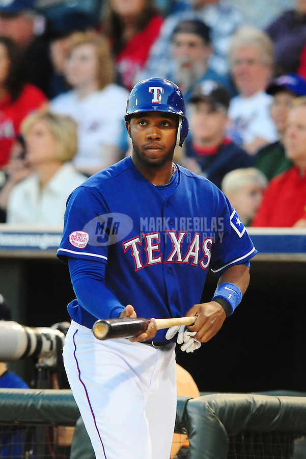 Mar. 15, 2010; Surprise, AZ, USA; Texas Rangers shortstop Elvis Andrus against the San Francisco Giants during a spring training game at Surprise Stadium. Mandatory Credit: Mark J. Rebilas-