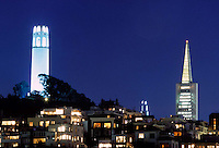 Coit Tower and the TransAmerica Pyramid in San Francisco, 1994