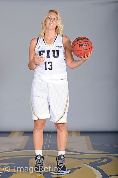 14 October 2015:  FIU guard/forward Janka Hegedus (13) poses during picture day at FIU Arena in Miami, Florida.