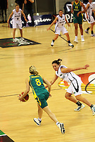 Ferns guard Zoe Kensington marks Samantha Richards during the International women's basketball match between NZ Tall Ferns and Australian Opals at Te Rauparaha Stadium, Porirua, Wellington, New Zealand on Monday 31 August 2009. Photo: Dave Lintott / lintottphoto.co.nz