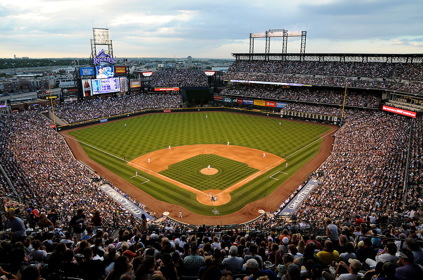 01 JULY 2011:     A general view from high behind home plate on a night with a sell out crowd before a fireworks show  during a regular season interleage game between the Kansas City Royals and the Colorado Rockies at Coors Field in Denver, Colorado. The Rockies beat the Royals 9-0.    *****For Editorial Use Only*****