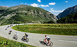 The breakaway group descending during Stage 11 of the 2018 Tour de France running 108.5km from Albertville to La Rosiere Espace San Bernardo, France. 18th July 2018. <br /> Picture: ASO/Alex Broadway   Cyclefile<br /> All photos usage must carry mandatory copyright credit (&copy; Cyclefile   ASO/Alex Broadway)