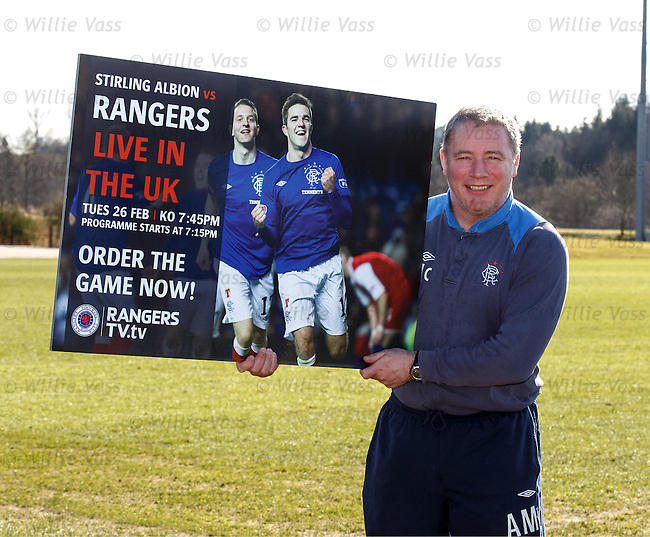 Ally McCoist promotes the Stirling Albion v Rangers match live on Rangers TV as a PPV