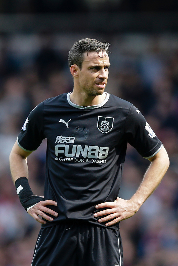 Burnley's Michael Duff during today's match<br /> <br /> Photographer Craig Mercer/CameraSport<br /> <br /> Football - Barclays Premiership - West Ham United v Burnley - Saturday 2nd May 2015 - Boleyn Ground - London<br /> <br /> &copy; CameraSport - 43 Linden Ave. Countesthorpe. Leicester. England. LE8 5PG - Tel: +44 (0) 116 277 4147 - admin@camerasport.com - www.camerasport.com