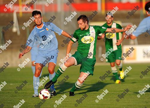 2013-08-15 / Voetbal / seizoen 2013-2014 / Racing Mechelen - Tournai / Cabaye met Dirk Mathyssen (r. RCM)<br /><br />Foto: mpics.be