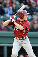 Center fielder Tanner English (3) of the South Carolina Gamecocks at bat in a game against the Furman Paladins on Tuesday, April 8, 2014, at Fluor Field at the West End in Greenville, South Carolina. (Tom Priddy/Four Seam Images)