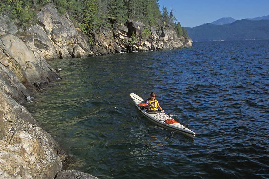 Anna Rose sea kayak touring on Kootenay Lake BC, Just south of Balfour.