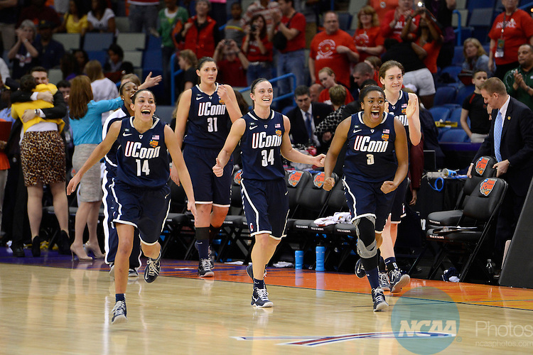 07 APR 2013:  The University of Connecticut celebrates their win against the University of Notre Dame during the Division I Women's Basketball Championship in New Orleans, LA.  Connecticut defeated Notre Dame 83-65 to advance to the national title game.  Jamie Schwaberow/NCAA Photos