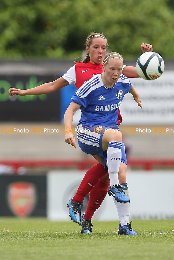Danielle Buet of Chelsea shields the ball from Jordan Nobbs of Arsenal - Arsenal Ladies vs Chelsea Ladies - FA Womens Super League Continental Cup Football at Boreham Wood FC - 10/06/12 - MANDATORY CREDIT: Gavin Ellis/TGSPHOTO - Self billing applies where appropriate - 0845 094 6026 - contact@tgsphoto.co.uk - NO UNPAID USE.