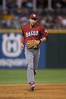 Lehigh Valley Iron Pigs shortstop J.P. Crawford (3) jogs off the field between innings of the game against the Charlotte Knights at BB&T BallPark on June 3, 2016 in Charlotte, North Carolina.  The Iron Pigs defeated the Knights 6-4.  (Brian Westerholt/Four Seam Images)