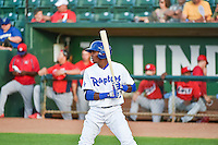 Deivy Castillo (12) of the Ogden Raptors at bat against the Orem Owlz in Pioneer League action at Lindquist Field on June 18, 2015 in Ogden, Utah. This was Opening Night play of the 2015 Pioneer League season.   (Stephen Smith/Four Seam Images)