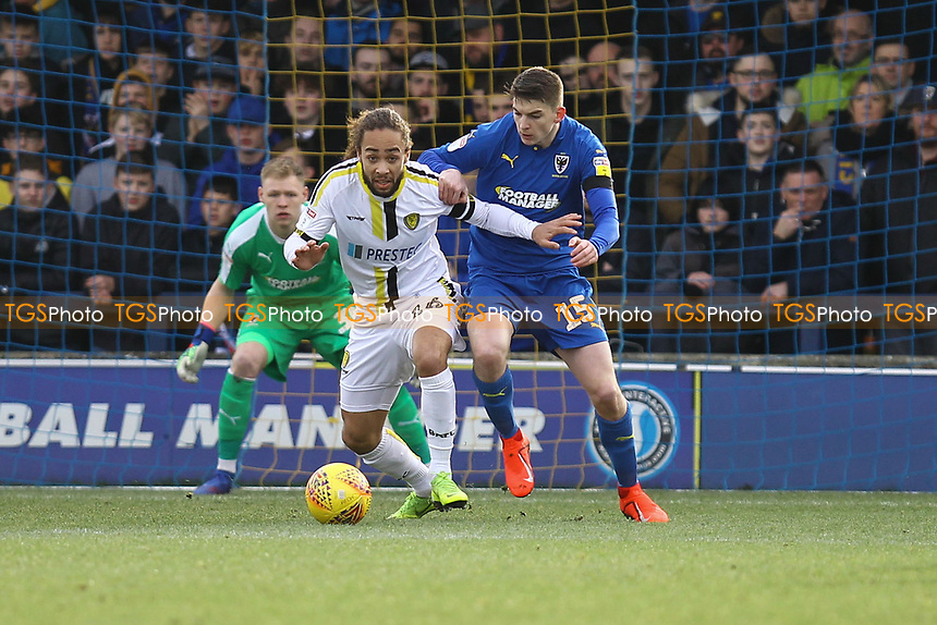 Marcus Harness of Burton Albion and Steven Seddon of AFC Wimbledon during AFC Wimbledon vs Burton Albion, Sky Bet EFL League 1 Football at the Cherry Red Records Stadium on 9th February 2019
