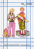 Interlitho, Emilia, TEENAGERS, paintings, girl, boy, skateboard(KL3862,#J#) Jugendliche, jóvenes, illustrations, pinturas ,everyday