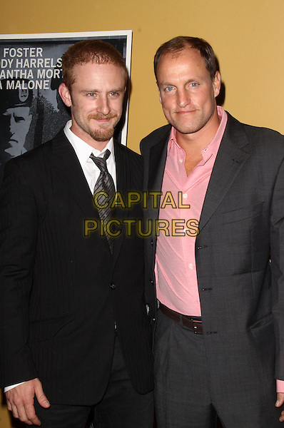 "BEN FOSTER & WOODY HARRELSON.Premiere of ""The Messenger"" at Clearview Chelsea Cinemas, New York, NY, USA, .8th November 2009..half length grey gray suit pink shirt black tie arm around shoulder beard facial hair .CAP/ADM/PZ.©Paul Zimmerman/AdMedia/Capital Pictures."