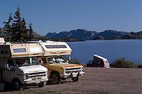 Lake Laberge, Yukon Territory, Canada - RV Recreational Vehicle Campers camping in Campground