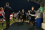 30 September 2015: Sporting head coach Peter Vermes (center) walks to the bench. The Philadelphia Union hosted Sporting Kansas City at PPL Park in Chester, Pennsylvania in the 2015 Lamar Hunt United States Open Cup Final. The game ended in a 1-1 tie after extra time. Sporting Kansas City won the Championship by winning the penalty kick shootout 7-6.