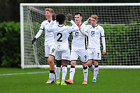 Liam Cullen of Swansea City u23s' celebrates scoring his side's third goal during the Premier League 2 Division Two match between Swansea City u23s and Middlesbrough u23s at Swansea City AFC Training Academy  in Swansea, Wales, UK. Monday 13 January 2020.