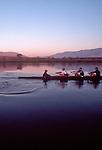 Rowing, US National Rowing Team, Men's eight, workout, ARCO Olympic Training Center, Otay Lake, Chula Vista, California, Dusk.
