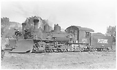 Fireman side view of RGS K-27 #455 at Ridgway beside D&amp;RGW K-27 #464.<br /> RGS  Ridgway, CO  Taken by Perry, Otto C. - 5/30/1947