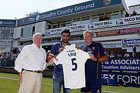 New Essex signing Mohammad Amir poses for a photograph with Chief Executive Derek Bowden (L) and Head Coach Chris Silverwood during Essex CCC vs Warwickshire CCC, Specsavers County Championship Division 1 Cricket at The Cloudfm County Ground on 19th June 2017