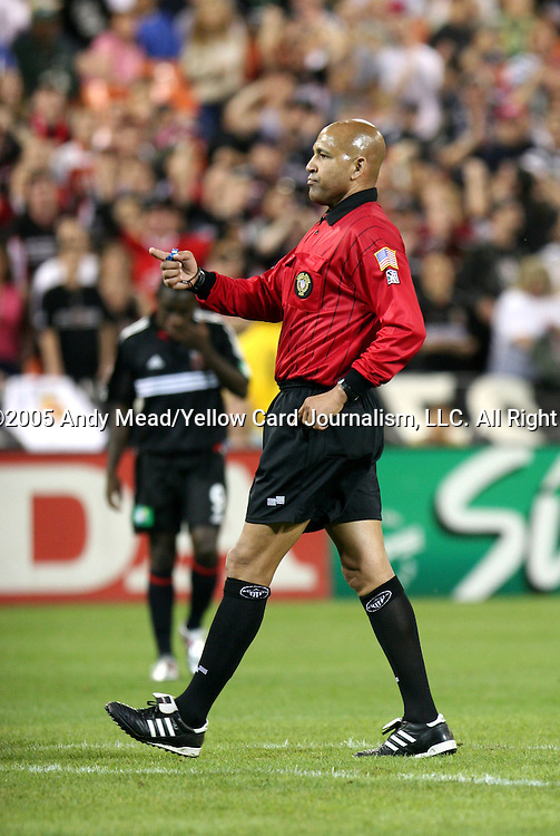 21 May 2005: Match referee Gus St. Silva. DC United defeated the Kansas City Wizards 3-2 at RFK Stadium in Washington, DC in a regular season Major League Soccer game. . .