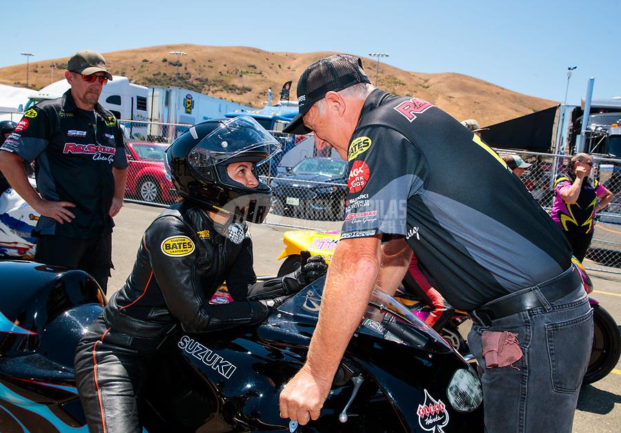 Jul 27, 2019; Sonoma, CA, USA; Crew members for NHRA pro stock motorcycle rider Jianna Salinas during qualifying for the Sonoma Nationals at Sonoma Raceway. Mandatory Credit: Mark J. Rebilas-USA TODAY Sports