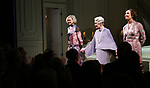 """Alison Pill, Glenda Jackson and Laurie Metcalf during the Opening Night Curtain Call for """"Three Tall Women"""" at the Golden Theatre on 3/29/2018 in New York City."""