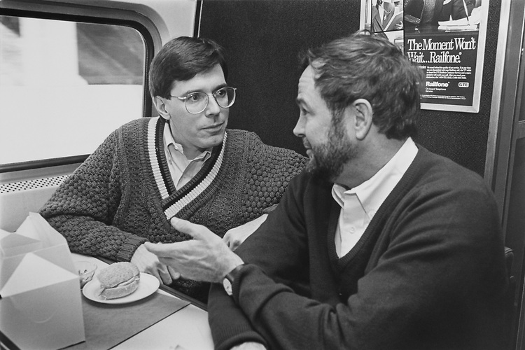 Rep. Bill Paxon, R-N.Y. and Rep. Dana Rohrabacher, R-Calif. on train to Princeton, New Jersey. Feb. 25, 1993. (Photo by Laura Patterson/CQ Roll Call)
