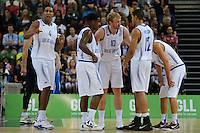 Team GB have a discussion during the EuroBasket 2015 2nd Qualifying Round Great Britain v Bosnia & Herzegovina (Euro Basket 2nd Qualifying Round) at Copper Box Arena in London. - 13/08/2014