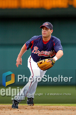 13 March 2006: Marcus Giles, infielder for the Atlanta Braves, on the field during a Spring Training game against the St. Louis Cardinals at The Ballpark at Disney's Wide World of Sports, in Orlando, Florida. The Cardinals defeated the Braves 9-0 in Grapefruit League play...Mandatory Photo Credit: Ed Wolfstein Photo..