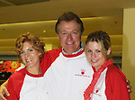 "Guiding Light's Liz Kiefer (Blake) and Jerry verDorn (Ross) and Stephanie Gatschet (Tammy) at the ""Bloss"" Bowling Event during the Guiding Light weekend on October 15, 2005 at the Port Authority, NY (Photo by Sue Coflin)"