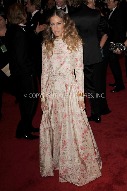 """WWW.ACEPIXS.COM . . . . . .May 7, 2012...New York City...Sarah Jessica Parker attending the """"Schiaparelli and Prada: Impossible Conversations"""" Costume Institute Gala at The Metropolitan Museum of Art in New York City on May 7, 2012  in New York City ....Please byline: KRISTIN CALLAHAN - ACEPIXS.COM.. . . . . . ..Ace Pictures, Inc: ..tel: (212) 243 8787 or (646) 769 0430..e-mail: info@acepixs.com..web: http://www.acepixs.com ."""