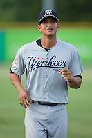 Allen Valerio (25) of the Pulaski Yankees warms up in the outfield prior to the game against the Burlington Royals at Burlington Athletic Park on August 6, 2015 in Burlington, North Carolina.  The Royals defeated the Yankees 1-0. (Brian Westerholt/Four Seam Images)
