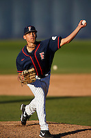 Tyler Peitzmeier #51 of the Cal State Fullerton Titans pitches against the Nebraska Cornhuskers at Goodwin Field on February 16, 2013 in Fullerton, California. Cal State Fullerton defeated Nebraska 10-5. (Larry Goren/Four Seam Images)