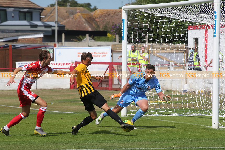 Johan Ter Horst scores Folkestone's opening goal during Ramsgate vs Folkestone Invicta, Friendly Match Football at Southwood Stadium on 1st August 2020