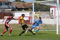 Johan Ter Horst scores Folkestone's opening goal during Ramsgate vs Folkestone Invicta, Friendly Match Football at Southwood Stadium on 1st August 2020