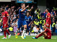 Cesar Azpilicueta of Chelsea celebrates only for VAR to disallow the goal during the Premier League match between Chelsea and Liverpool at Stamford Bridge, London, England on 22 September 2019. Photo by Liam McAvoy / PRiME Media Images.