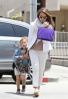 Jessica Alba wore a summerly business outfit with xxl scarf while dropping off daughter Honor at school on her way to her Honest Company office. Los Angeles, California on 24.05.2012..Credit: Correa/face to face.. / Mediapunchinc
