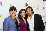 "Prospect Park's All My Children's Thorsten Kaye ""Zach Slater"" poses with Daniel Covin ""Hunter"" and Heather Roop ""Jane McIntyre on  the Red Carpet at New York Premiere Event for beloved series ""All My Children"" on April 23, 2013 at NYU Skirball, New York City, New York  as The Online Network (TOLN) - AMC - OLTL  begin airing on April 29, 2013 on Hulu, Hulu Plus. (Photo by Sue Coflin/Max Photos)"
