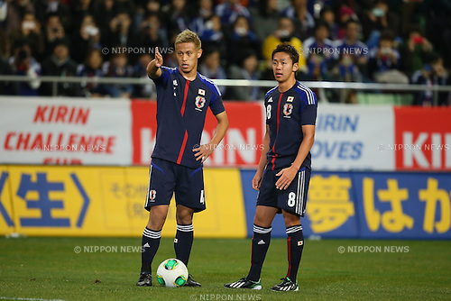 (L to R) Keisuke Honda, Hiroshi Kiyotake (JPN), .FEBRUARY 6, 2013 - Football / Soccer : .KIRIN Challenge Cup 2013 Match between Japan 3-0 Latvia .at Home's Stadium Kobe in Hyogo, Japan. .(Photo by Akihiro Sugimoto/AFLO SPORT)