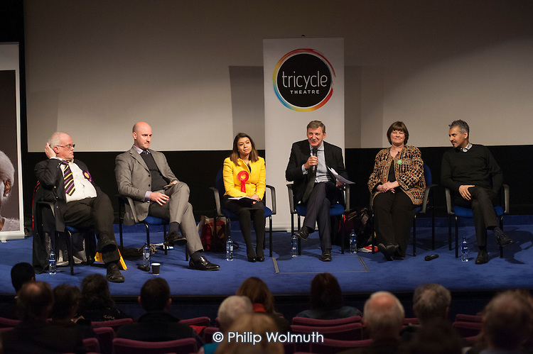 L to R: Magnus Nielsen (UKIP), Simon Marcus (Conservative), Tulip Siddiq (Labour), Chair Geoff Martin (editor of the Hampstead & Highgate Express), Rachel Johnson (Green Party), Maajid Nawaz (Lib-Dem; Co-Founder and Chairman of the Quilliam Foundation).  General election hustings in Hampstead and Kilburn, the second most marginal constituency in the UK.
