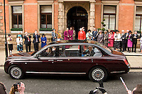 The Duke of Edinburgh waves to crowds outside Derby's Cathederal Quarter Hotel where the Royal Couple had lunch after a visit to Derby Cathedral for the 2010 Maundy Thursday service on April 1st