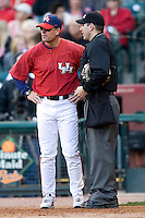 Houston Cougars Coach Rayner Noble against the Texas Longhorns on Saturday March 6th, 2100 at the Astros College Classic in Houston's Minute Maid Park.  (Photo by Andrew Woolley / Four Seam Images)