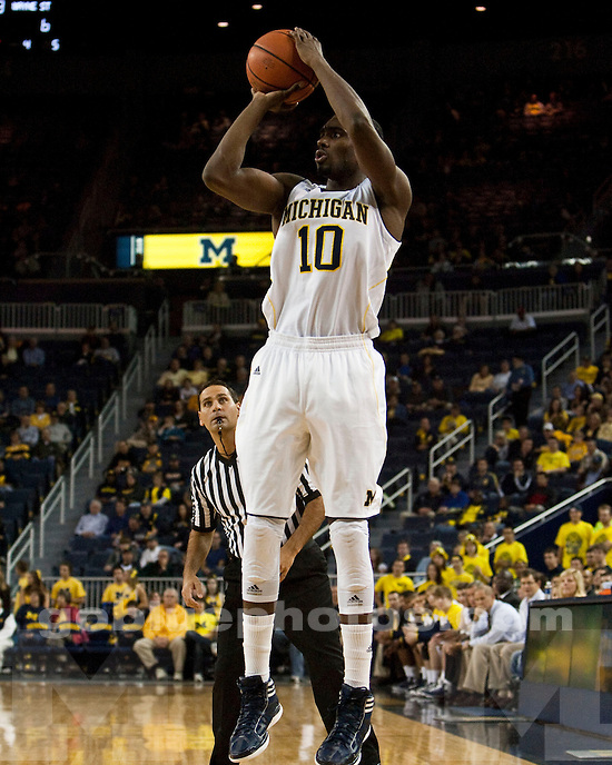 The University of Michigan men's basketball team beat Wayne State University, 47-39, in exhibition at Crisler Arena in Ann Arbor, Mich.,  on November, 4 2011.