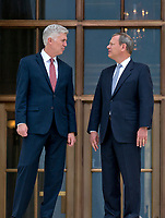 Chief Justice of the United States John G. Roberts, Jr., right, and Associate Justice of the Supreme Court of the United States Neil M. Gorsuch, left, pose for photos on the front steps of the US Supreme Court Building after the investiture ceremony for Justice Gorsuch in Washington, DC on Thursday, June 15, 2017. Photo Credit: Ron Sachs/CNP/AdMedia