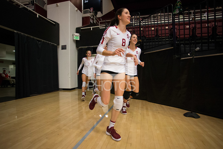 STANFORD, CA - October 12, 2018: Michaela Keefe, Caitlin Keefe, Holly Campbell at Maples Pavilion. No. 2 Stanford Cardinal swept No. 21 Washington State Cougars, 25-15, 30-28, 25-12.